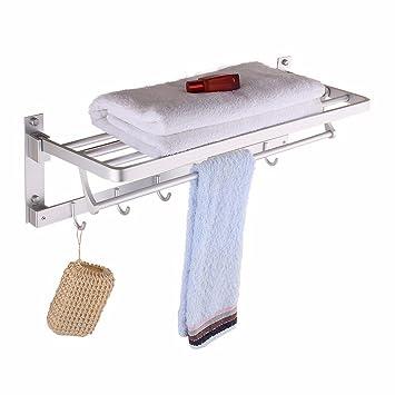 Vory Accesorios de Baño Doble Baño Baño Toalla de Aluminio Plegable Bastidor Actividades Baño Toallas Baño estantes para Colgar en Pared: Amazon.es: Hogar