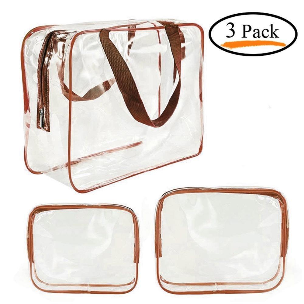 FOONEE Toiletry Bag Set,多機能防水クリアメイクアップストレージバッグ旅行バッグ仕上げメンズ&レディース3-size (ブラウン、G、PVC、Oppパッケージバッグ、301022、24520、18414 CM) B07G25YPHS