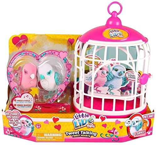 Little Live Pets Love Birds with Cage - Season - Bird Toy Electronic