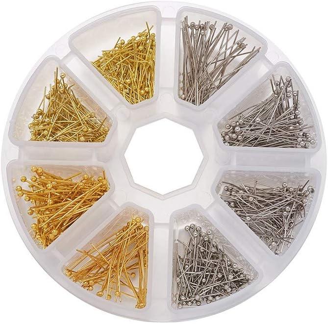 700 pines de cabeza de bola de punta de bola de alambre de 16 mm Cheriswelry 20 mm platino y dorado 25 mm para hacer joyas 30 mm