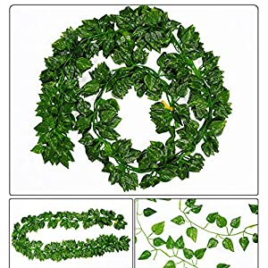 DraFenn 2M Long Simulation Plants Green Ivy Leaf Fake Grape Vine Artificial Flower String Foliage Leaves Home Wedding 74