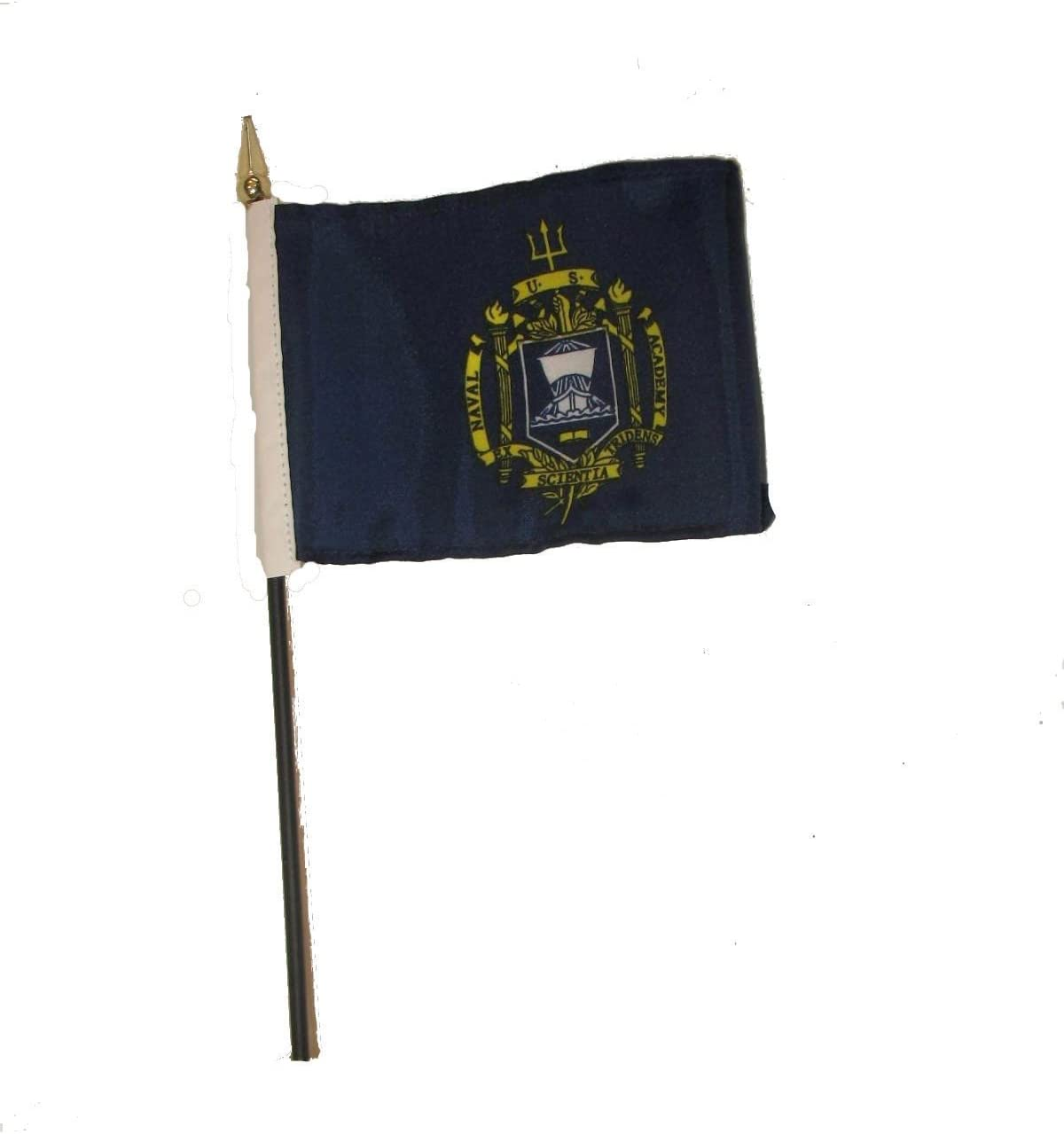 AES Wholesale Lot of 12 U.S Naval Academy Crest 4x6 Desk Table Stick Flag Premium Vivid Color and UV Fade Best Garden Outdor Decor Resistant Canvas Header and Polyester Material Flag