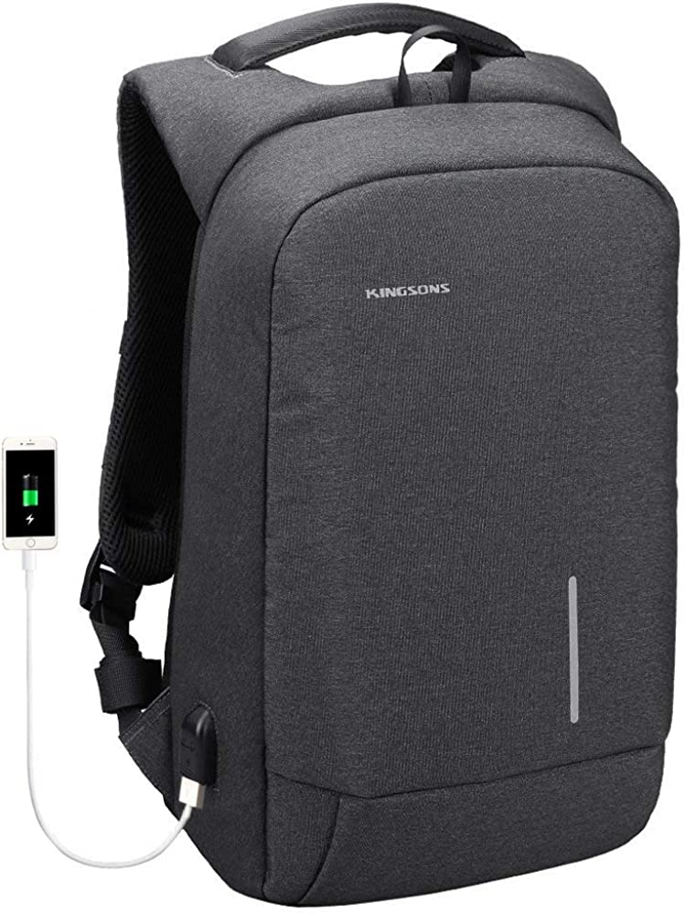 Lightweight Traveling Laptop Backpack, Kingsons Slim Business Travel Computer Bag with USB Charging Port Anti-Theft Water Resistant for 15.6-Inch Laptop Rucksack (Dark Grey)