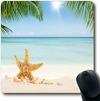 Gaming Tropical Paradise Beach Mouse Pad Oblong Shaped Mouse Mat Design Natural