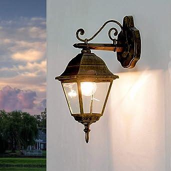 Außen Wandleuchte Schwarz Gold Wandlampe Laterne Außenleuchten Außenlampe Licht
