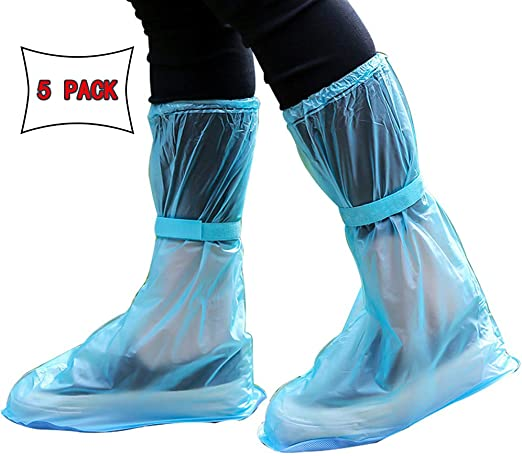 5 Pairs Durable Disposable Waterproof Plastic Rain Shoes Cover Thicken Rain Boot
