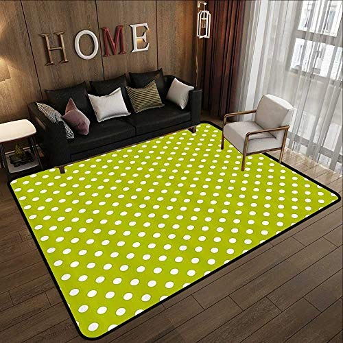 Truck mats,Retro,Vintage Old Fashioned 60s 70s Inspired Polka Dots Pop Art Style Art Print,Lime Green and White 71