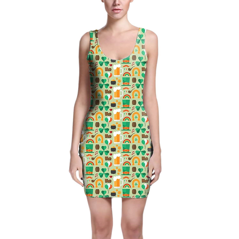 Lucky St Patricks Day Bodycon Dress XS-3XL Sleeveless Stretch Short Dress