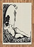 Vintage Area Rug by Lunarable, Ancient Roman Woman Looking at the Mirror Classic Beauty Feminine Sketch Print, Flat Woven Accent Rug for Living Room Bedroom Dining Room, 5.2 x 7.5 FT, Cream Black