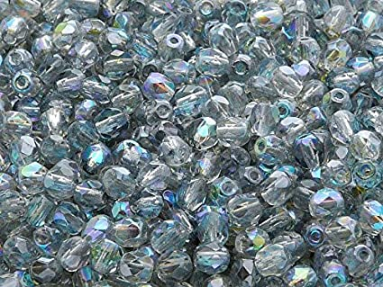100 Crystal Faceted Round Glass Beads 4MM