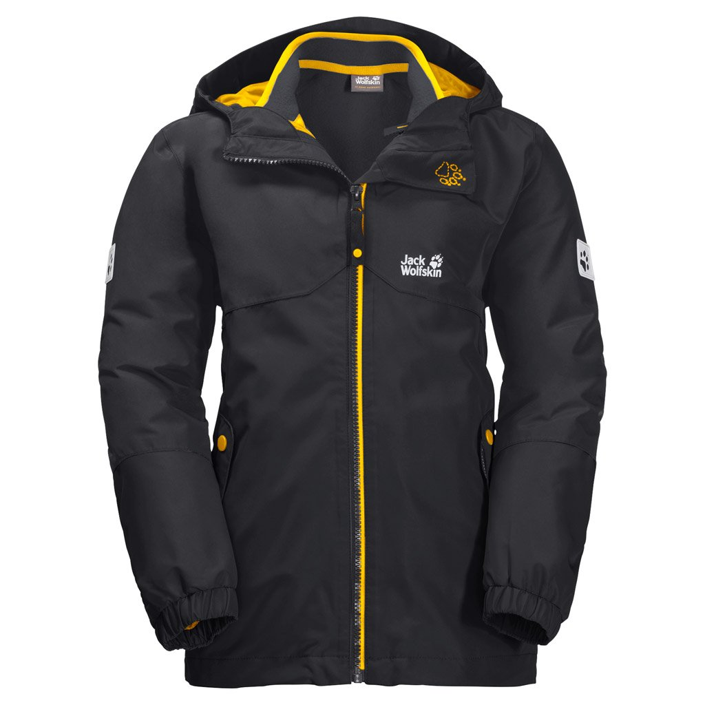 Jack Wolfskin Boy's B Iceland 3-in-1 Waterproof Insulated System-Zip Jacket, Phantom, Size176(14Years&Older)