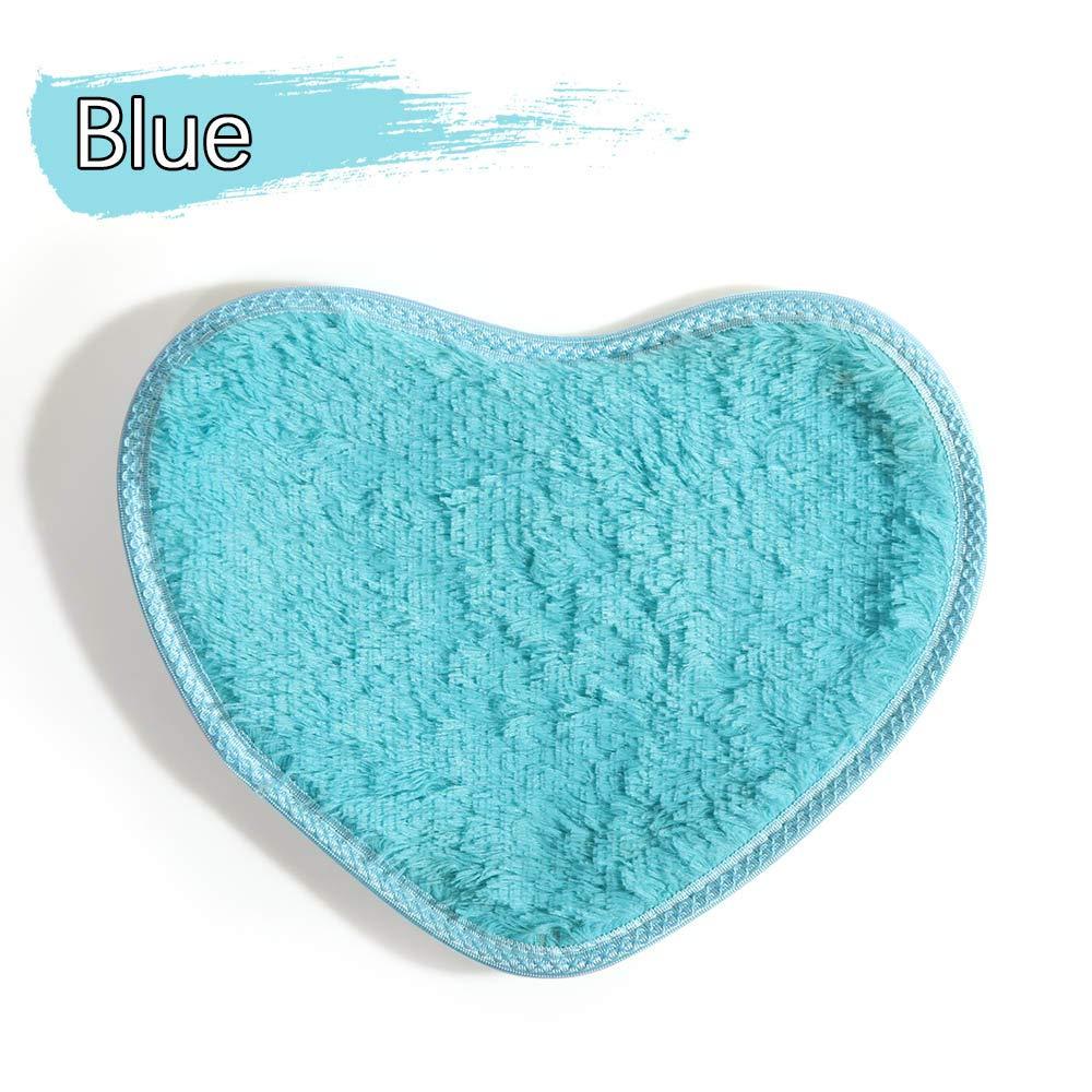 in Flanella Blue Tappeto da Bagno e Doccia in Morbido Memory Foam a Forma di Cuore koolory