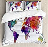Watercolor Bedding Duvet Cover Sets for Children/Adults/Kids/Teens Twin Size, Multicolored Hand Drawn World Map Asia Europe Africa America Geography Print, Hotel Luxury Decorative 4pcs Set, Multicolor