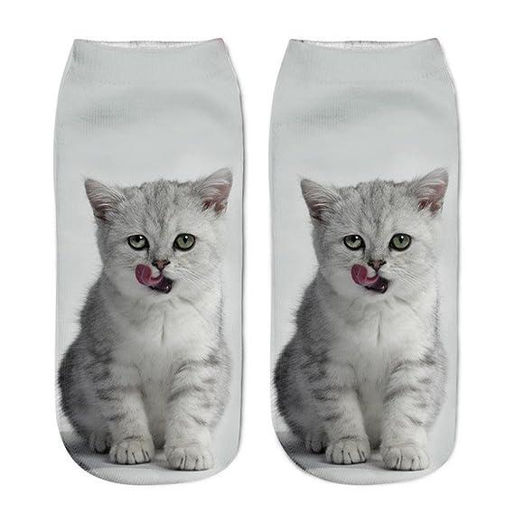 MYQyiyi Calcetines Cortos Unisex Impresa 3D Gato Populares Divertidos Calcetines (E)
