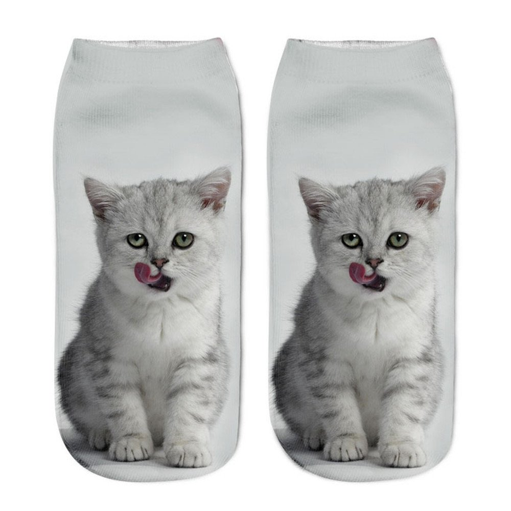 LUCA Women Popular Funny Socks Short Socks 3D Cat Printed Anklet Socks Theme Gift Unisex
