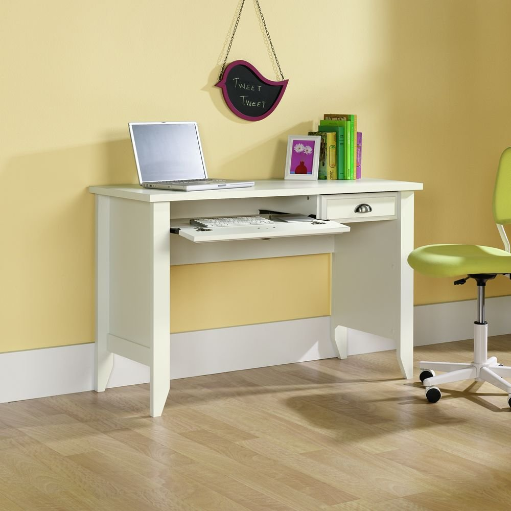 amazoncom sauder shoal creek computer desk soft white finish kitchen u0026 dining