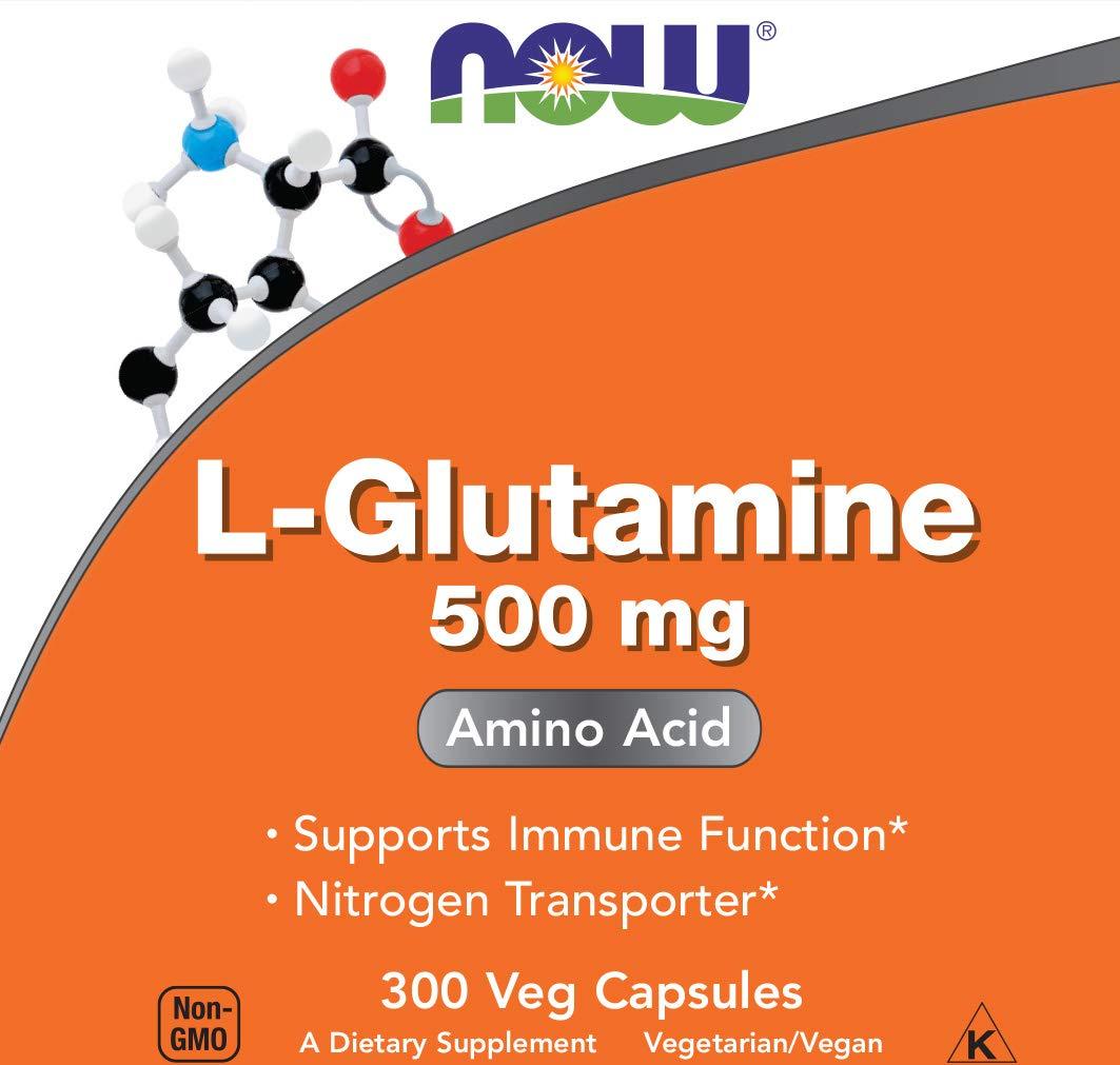 Now L-Glutamine 500 mg, 300 Vegan Capsules - Non-GMO, Vegan, Kosher by NOW Foods