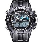 BLCOT Big Face Sports Watch Men Waterproof Multifunction Watch Wrist Digital Watches Black Silicone Band