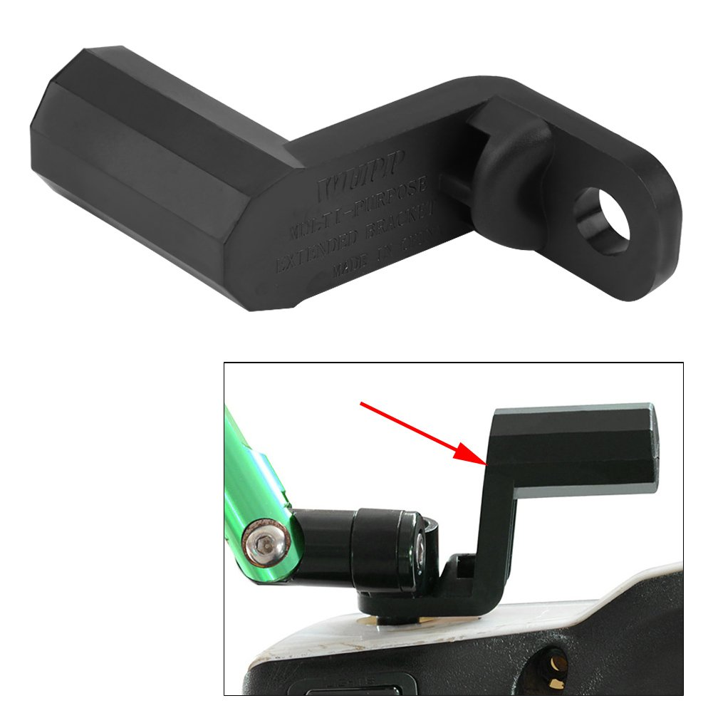 Fydun Extension Bracket Motorcycle Multi-functional Rearview Mirror Mount Extension Holder Bracket Black for Cell Phone GPS