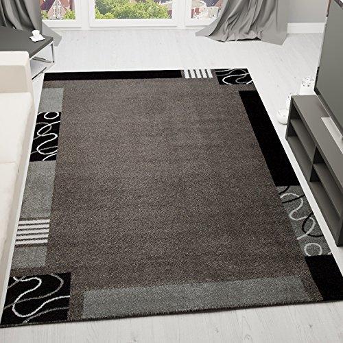 VIMODA Frisee Kurzflor Teppich, Modern in Grau Schwarz, versch Größen, Muster mit Umrandung - ÖKO TEX Zertifiziert, Maße:200 x 290 cm