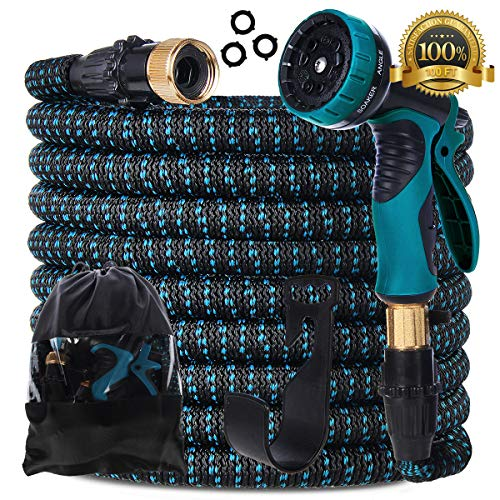 Gardguard 100ft Expandable Garden Hose: Water Hose with 9 Function Spray Nozzle and Durable 3-Layers Latex, Flexible Water Hose with Solid Brass Fittings, Best Choice for Watering and Washing