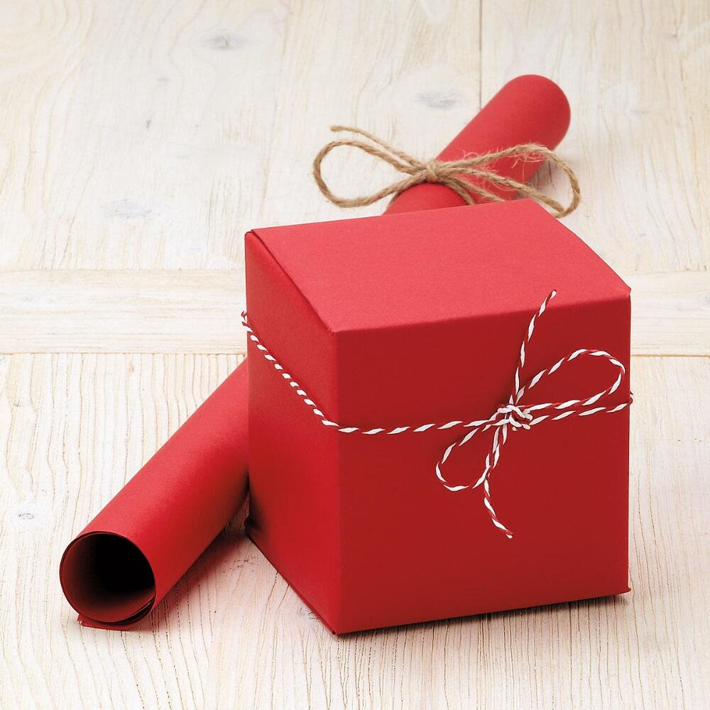 Plain Gift Wrapping Paper Part - 27: ... Red Plain Kraft Jumbo Roll Gift Wrap - 72 Sq Ft.