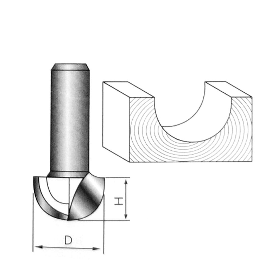 Uxcell a16042700ux0294 1//2 Inch x 1-1//2 Inch Woodworker Round Nose Cove Core Box Router Bit Wood Cutting Tool