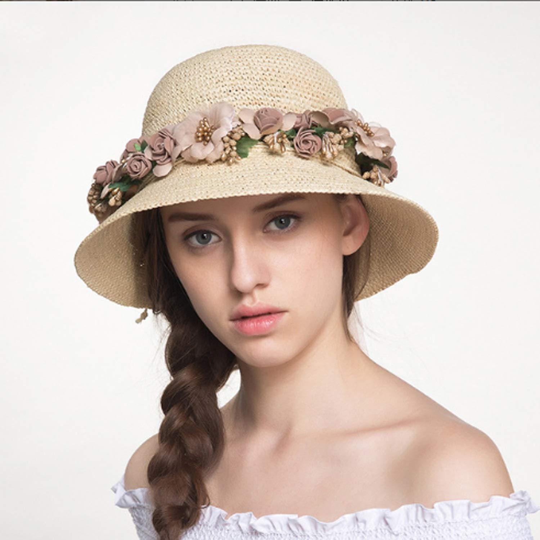 Beige TongLing Hat Woman Folding Sun Hat Outdoor Shade Garland Sunscreen Beach Fishman Hat beauty and comfy