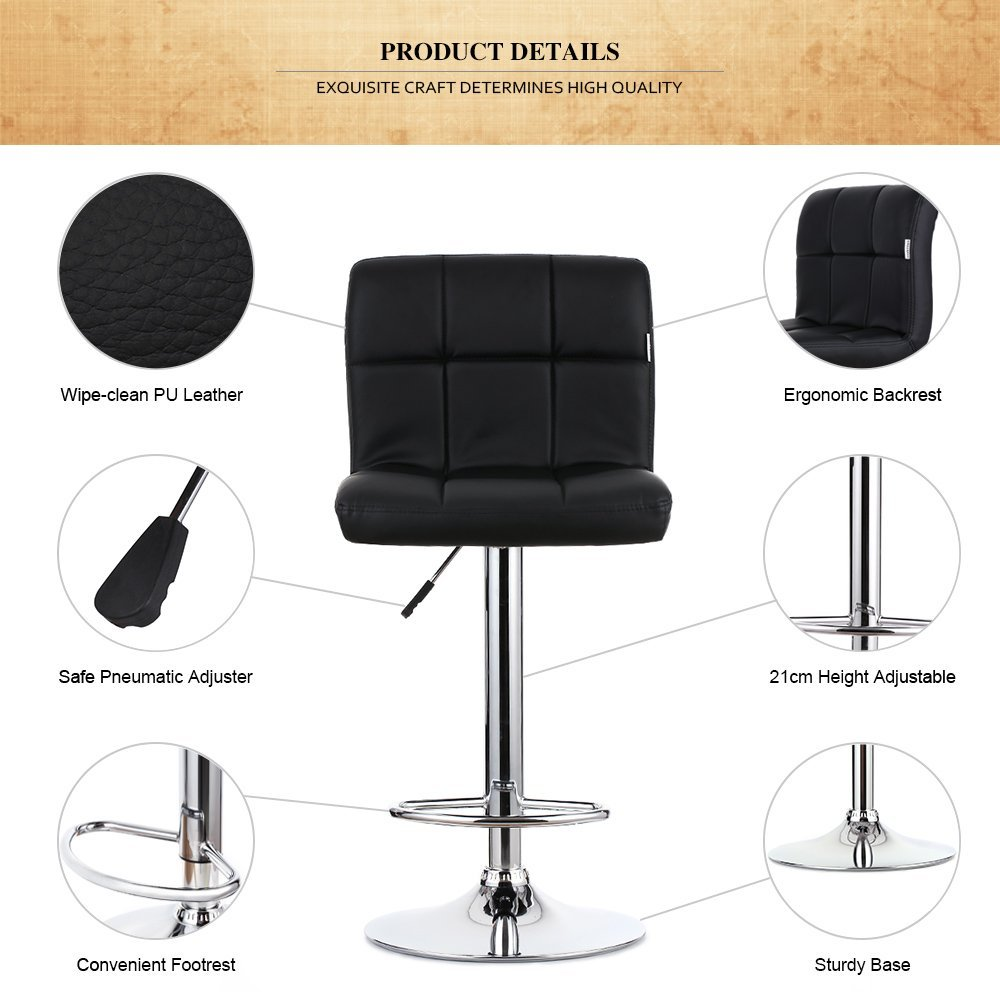 height adjustable chairs for kitchen. ikayaa bar stools chairs swivel kitchen breakfast 2pcs/set pu leather: amazon.co.uk: \u0026 home height adjustable for h