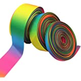 Li Hua Cat 50yd Rainbow Grosgrain or Satin Fabric Ribbon for Hair Bows Gift Wrapping,Seven Colors Double Face Ribbon Width 9MM Floral Designs