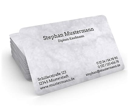 100 Visitenkarten 85 X 55 Mm Inkl Kartenspender Classic Marmor Grau