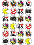 24x 80's Eighties Mix 1.5 (3.8cm) PRE- CUT PREMIUM RICE PAPER Edible Cake Toppers