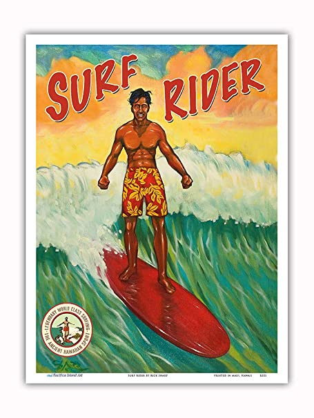 Pacifica Island Art Surf Rider-Hawai Surfer-Vintage Cartel ...