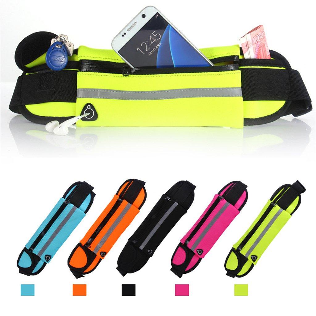 Black Hukai Unisex Sports Running Bag Cycling Jogging Waterproof Waist Belt Pack Zip Pouch