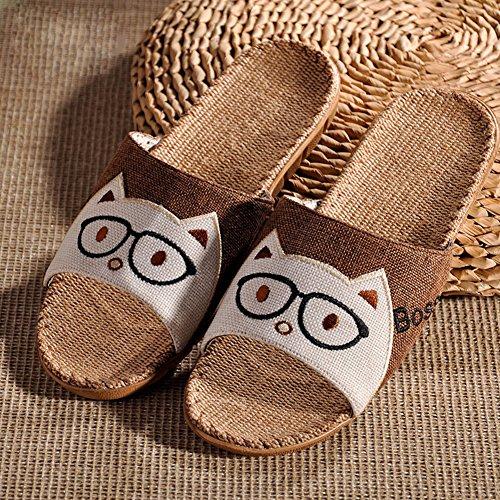 Boys' Open Toe Shoes Cartoon Slippers JUIOKK Flat Non Brown Men's Girls' Linen Indoor Women's Slippers slip Bedroom gBpAqd