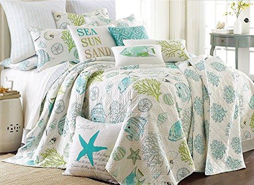 Levtex Biscayne King Quilt & 3 Standard Pillow Shams Coastal Fish Sea Shells Sand Dollars Aqua Green
