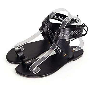 b5e1f85c3 Image Unavailable. Image not available for. Color  Summer Women Sandals  Open Toe Flat Beach Shoes Fashion Cross Ankle ...