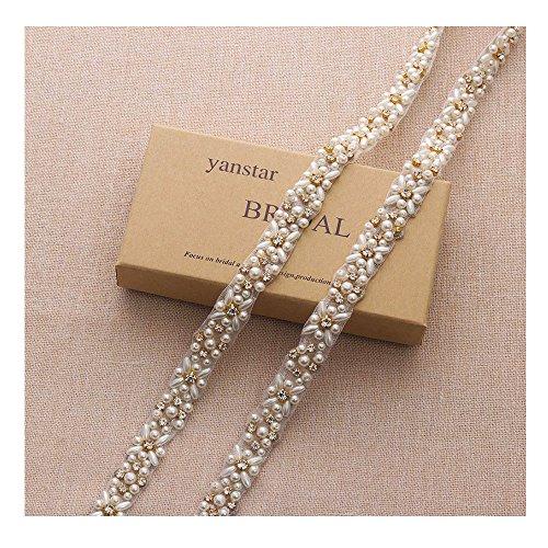 Yanstar Handmade 1 Yard Thin Pearls Gold Crystal Applique Trims For Bridal Wedding (Thin Gold Trim)