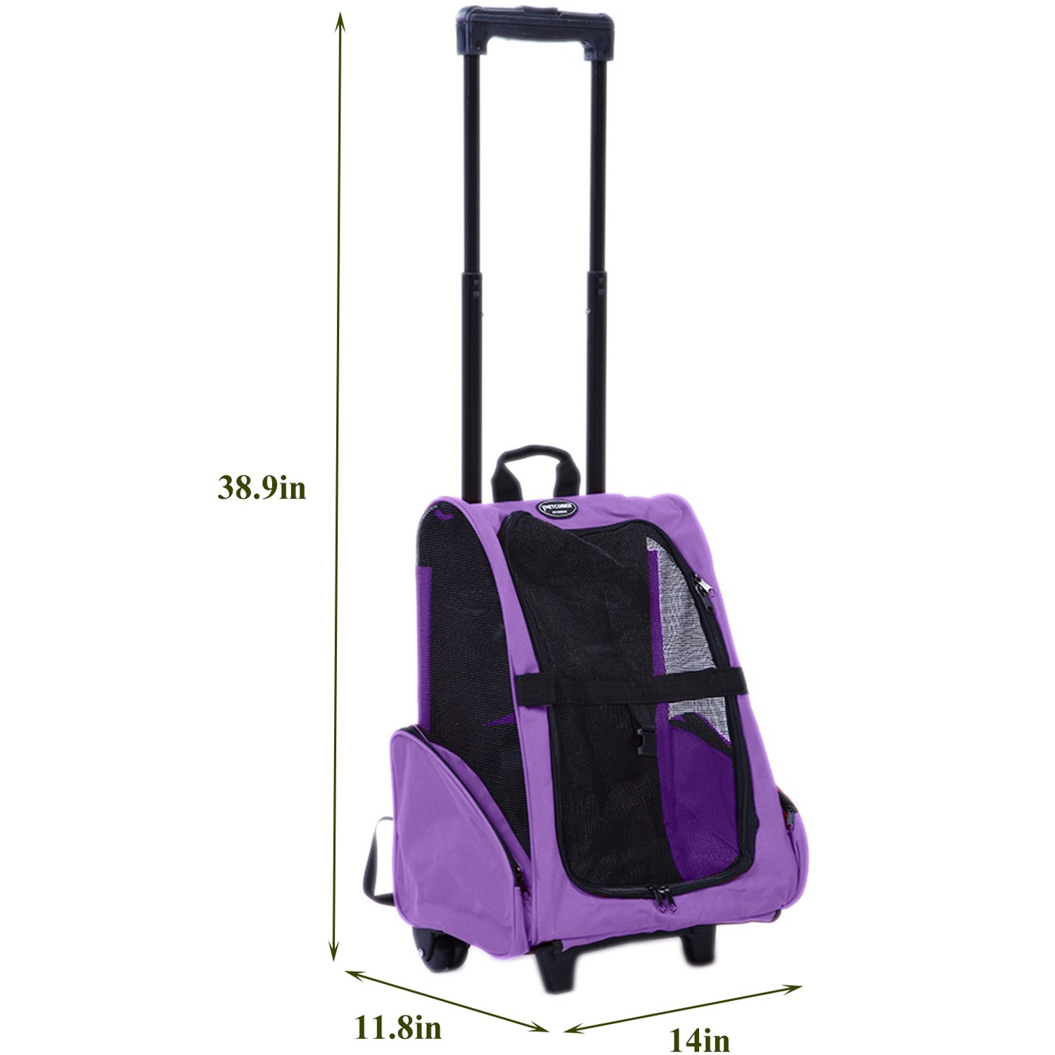 Pettom Roll Around 4-in-1 Pet Carrier Travel Backpack for Dogs & Cats&Small Animals Travel Tote Airline Approved (Small-Hold pet up to 10 lbs, Purple) by Pettom (Image #2)