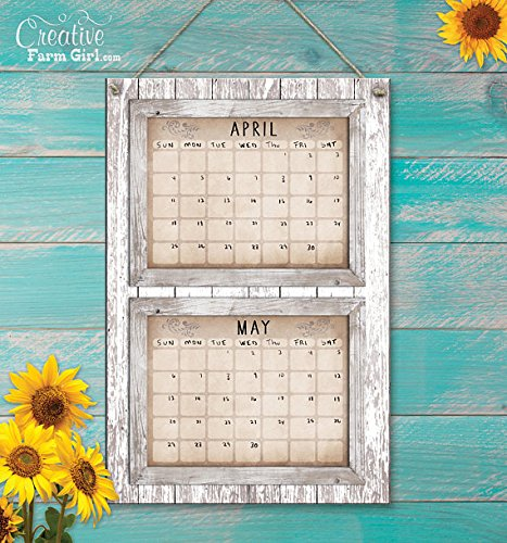 Shabby White rustic barn wood dry erase vertical two month calendar