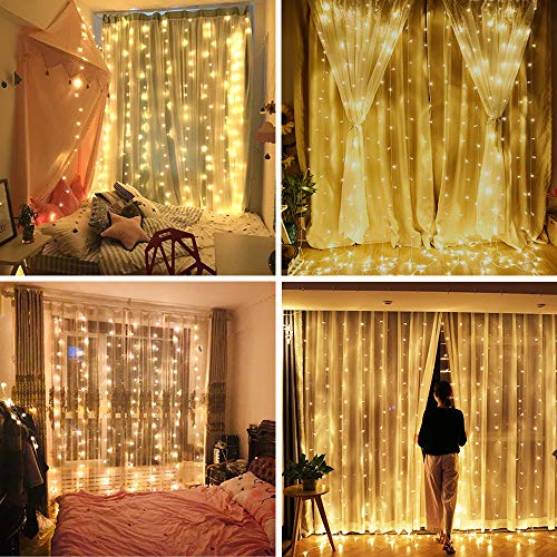 YULIANG LED Curtain Lights,9.8x9.8ft 8 Mode 300 LED