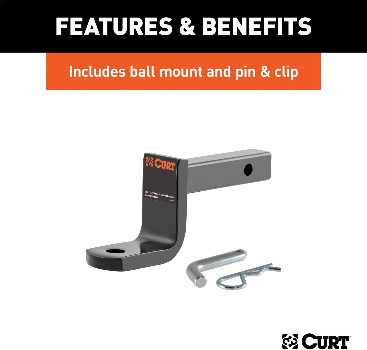 CURT 120973 Class 2 Trailer Hitch with Old-Style Ball Mount Pin and Clip