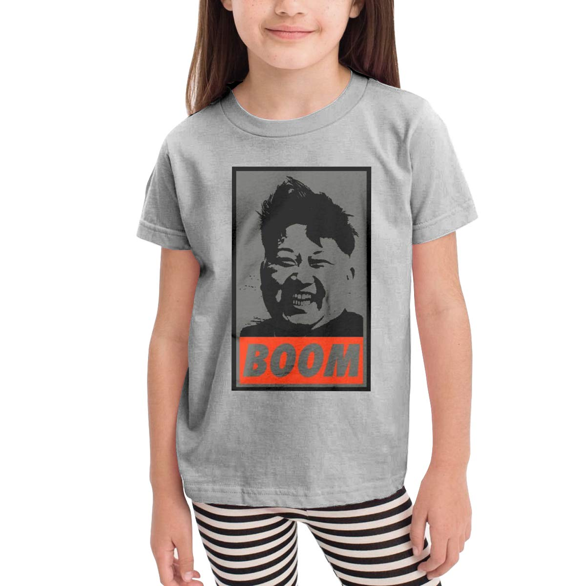 Patricia FordT 6-24 Month Baby T-Shirt Loose Self-Cultivation 2-6 Year Old Childrens T-Shirt Kim Jong Un Boom Logo Gray