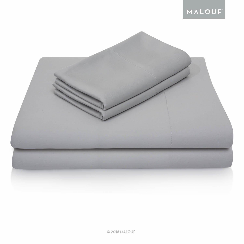 MALOUF Split Head 100% Rayon From Bamboo Sheet Set - 4-pc Set - Queen - Ash