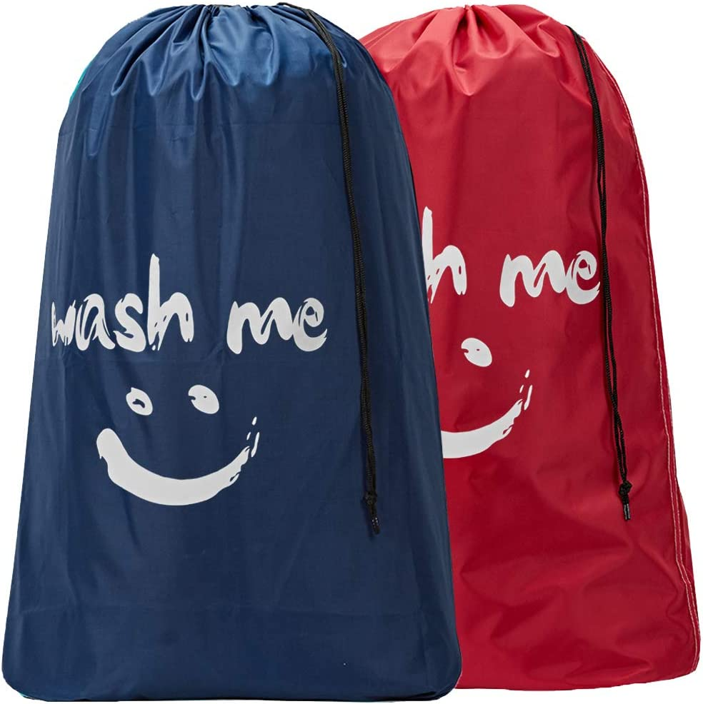 HOMEST 2 Pack XL Wash Me Travel Laundry Bag, Machine Washable Dirty Clothes Organizer, Large Enough to Hold 4 Loads of Laundry, Easy Fit a Laundry Hamper or Basket, Red and Navy Blue