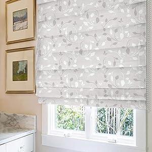Roman Shades Window Shades, Elegant Leaf Blackout Light Filtering Custom Window Roman Blinds, 10% Linen Fabric Roman Shades for Windows, French Doors, Doors, Kitchen Windows
