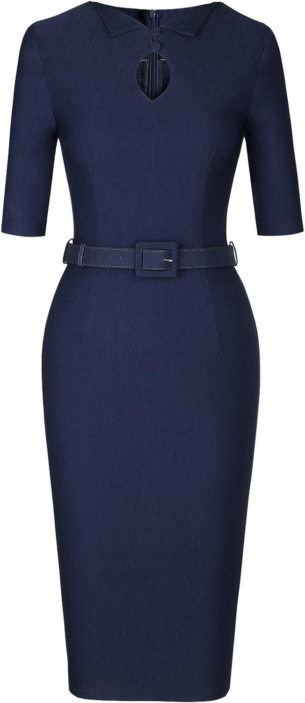 MUXXN Women's Audrey Hepburn 1960s Half Sleeve Belt Formal Work Dress