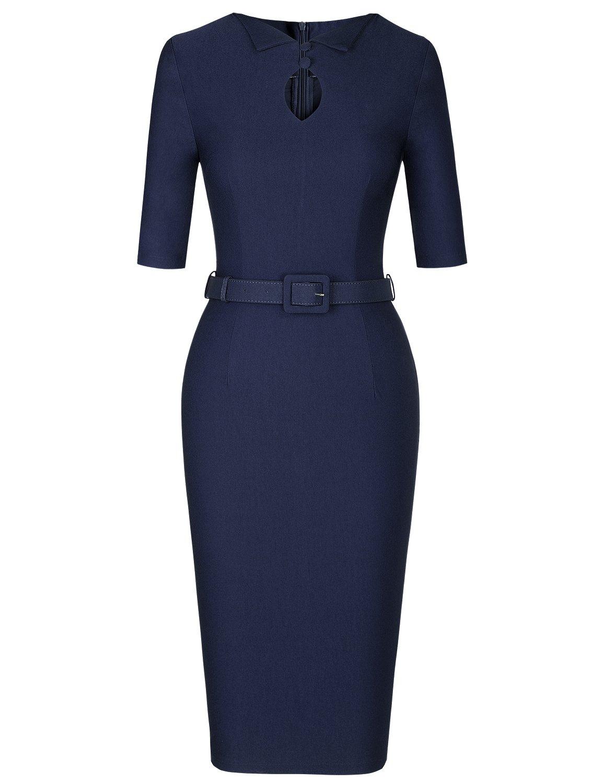MUXXN Womens Vintage Style O Neck Keyhold Knee Length Formal Dress (Blue S)