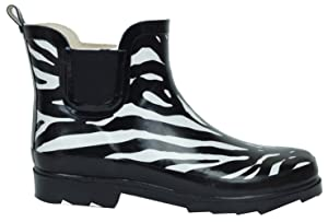 BS Women's Rain Boots Short Ankle Rubber Garden Fashion Snow Shoes (9 B(M) US, Zebra)