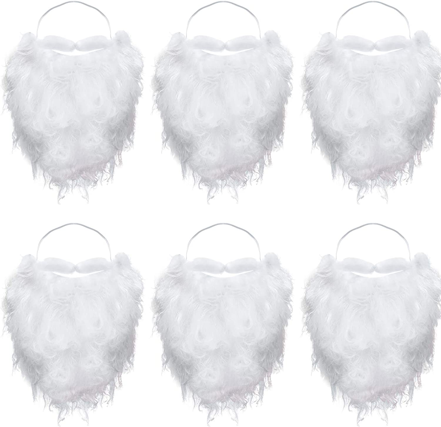 6 Pieces Funny Fake Beard Fake White Beard Costume for Cosplay Party Supplies